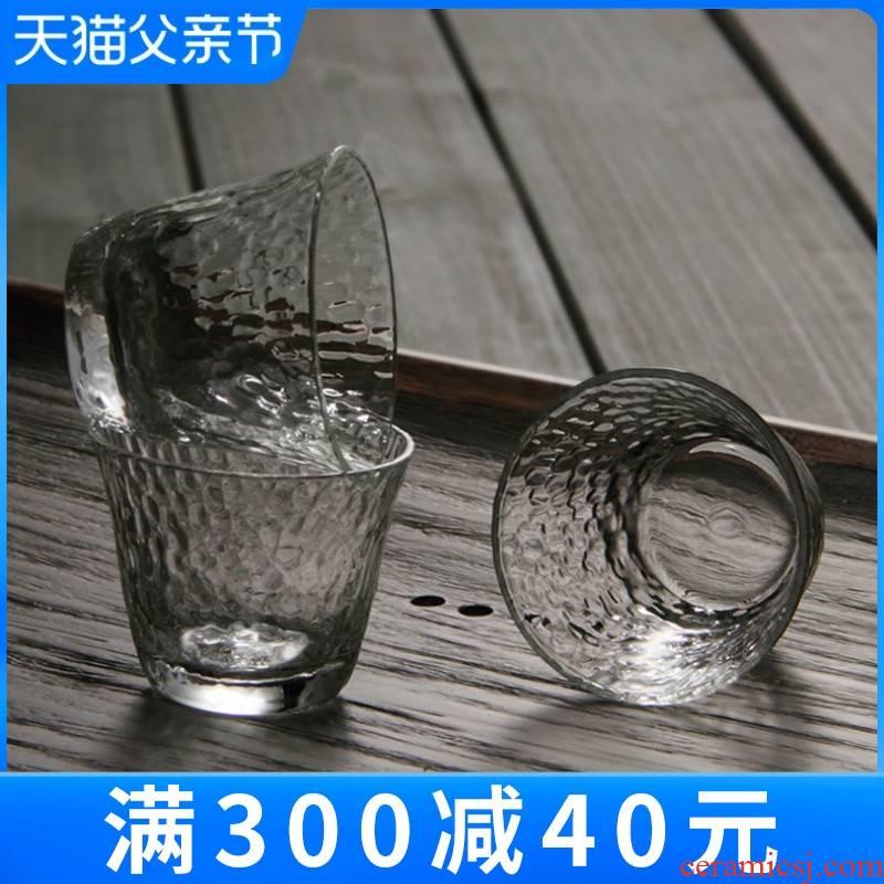 Manual hammer eye grain glass cup upset hammer sample tea cup tea kungfu tea glass points of tea cups