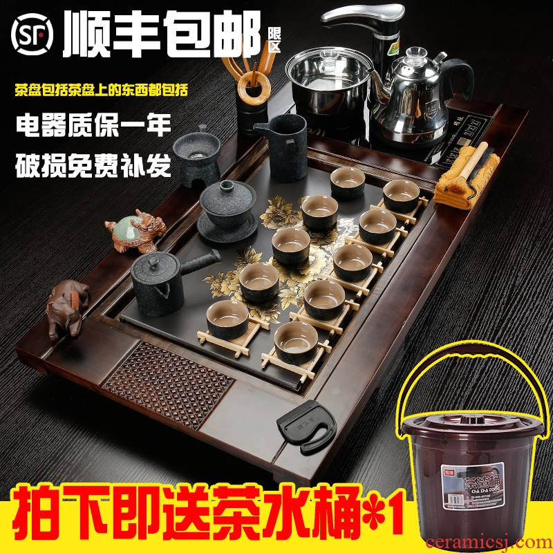 Sea leap of a complete set of fully automatic four unity contracted solid wood tea tray was home purple sand tea tea set tea cups