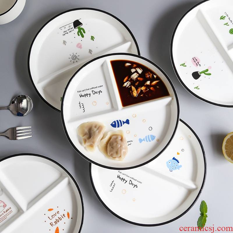 The Nordic ceramic tableware frame plate children cent eat breakfast dishes creative household food dish platter separate plates