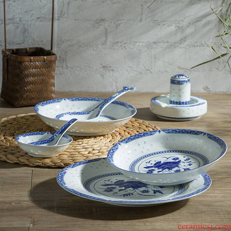 56 the head of Jingdezhen blue and white ceramics tableware suit Chinese style restoring ancient ways bowl dish dish combination suit household to eat bread and butter