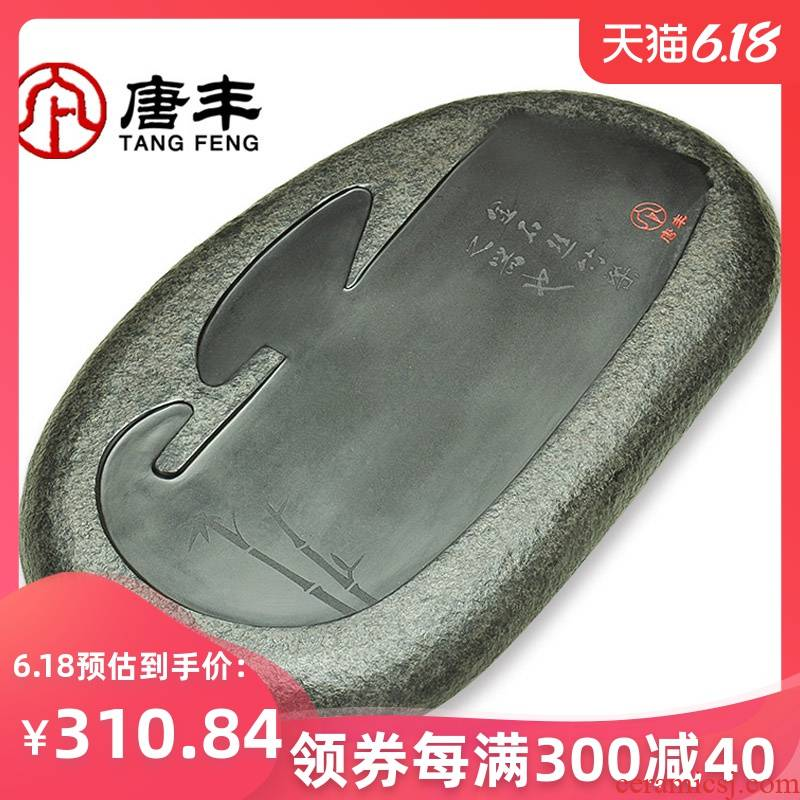 Tang Feng kung fu tea tray was black sharply small stone stone stone stone tea tea family tea saucer z