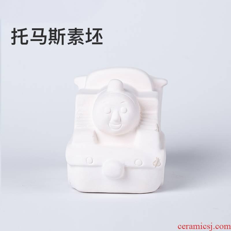 New cartoon Thomas plain grey pottery DIY hand - made of grey ceramic toys