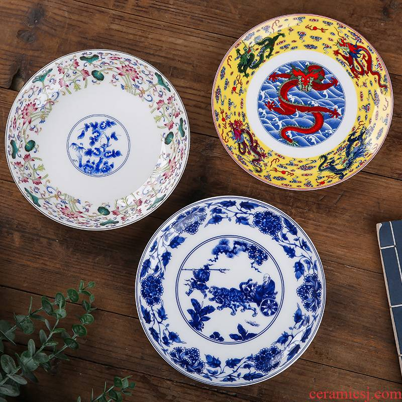 Jingdezhen ceramic 7 inches deep dish dish Chinese style household creative ipads porcelain soup nest dish dish fruit bowl dishes