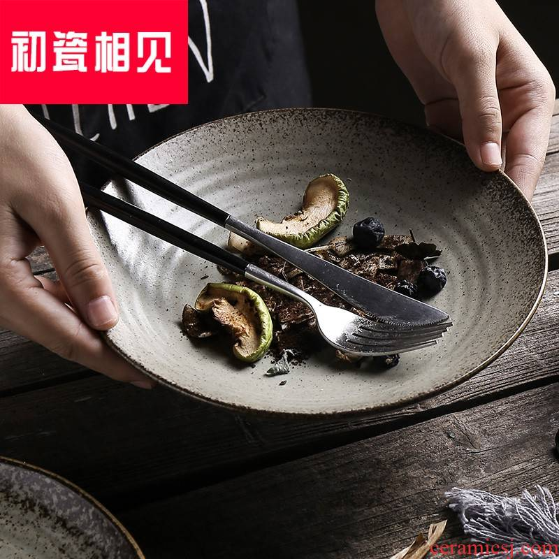 Porcelain meet each other at the beginning of Japanese ceramics tableware retro creative household food dish plate plate plate plate of beefsteak