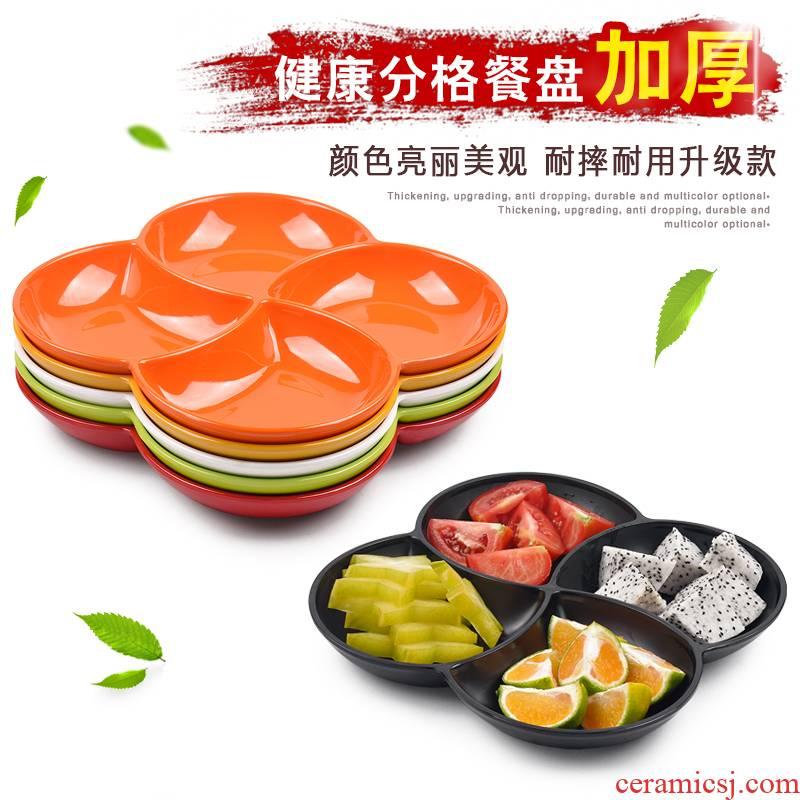 Melamine imitation porcelain color creative frame platter KTV snack cold dish plate four separate fruit plate, snack plate