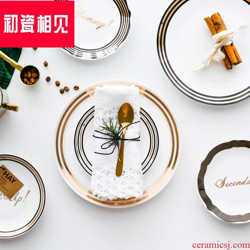 Nordic paint edge ipads porcelain porcelain meet each other at the beginning of Monroe son western food all the dish food decoration plate jewelry