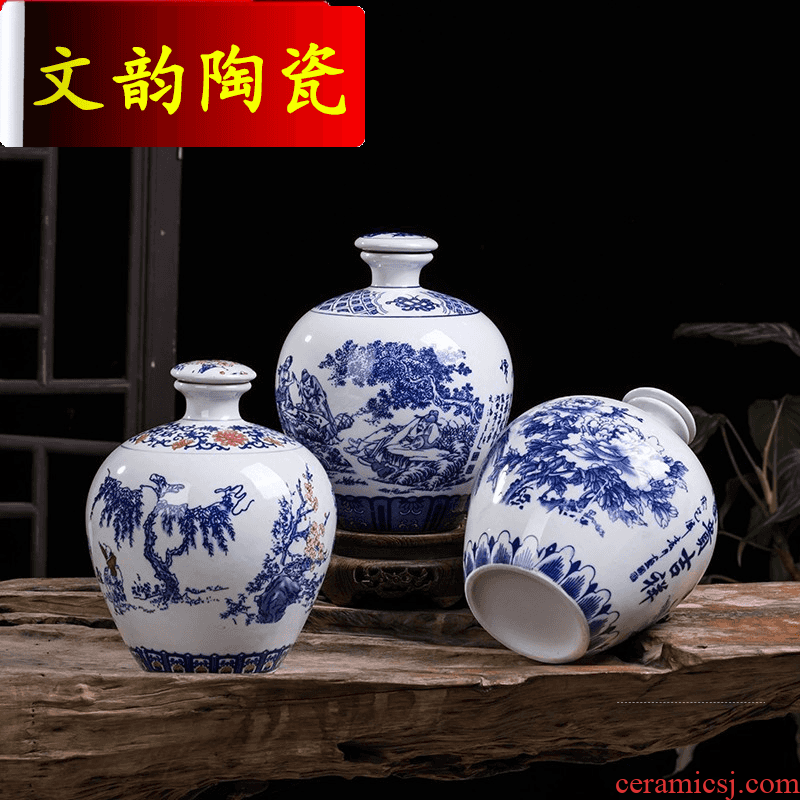 Wen rhyme ceramic bottle wine storage small household jars hip 5 jins of blue and white seal altar empty wine