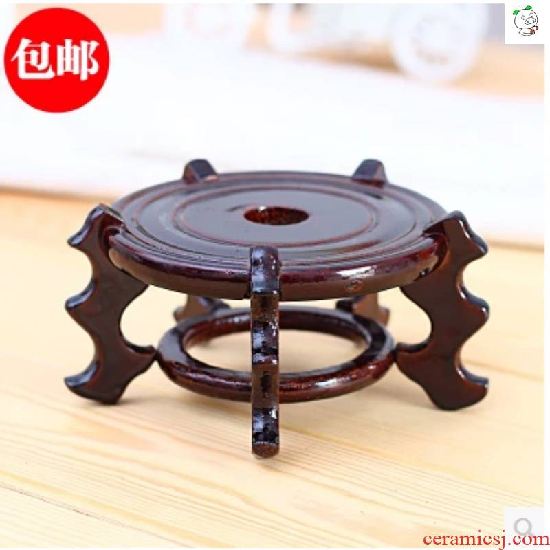 Tray was large supporting circular short hydroponic flower glass vase base tank flowerpot flower wearing thick imitation solid wood resin
