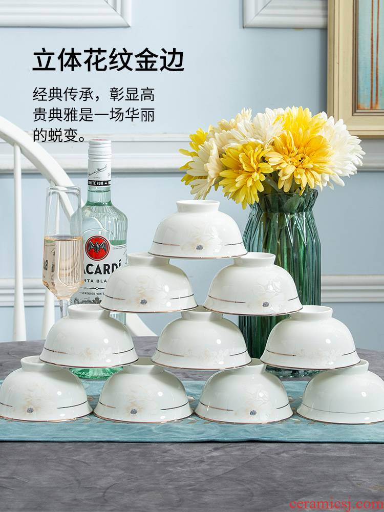 10 a to jingdezhen domestic rice bowls tableware ceramic bowl dishes suit dishes porringer single eat bread and butter