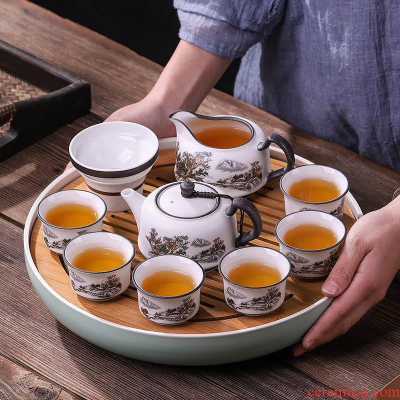 Chinese style of new Chinese bamboo tea tray ceramic dry mercifully tea tray storage type contracted household kung fu tea set
