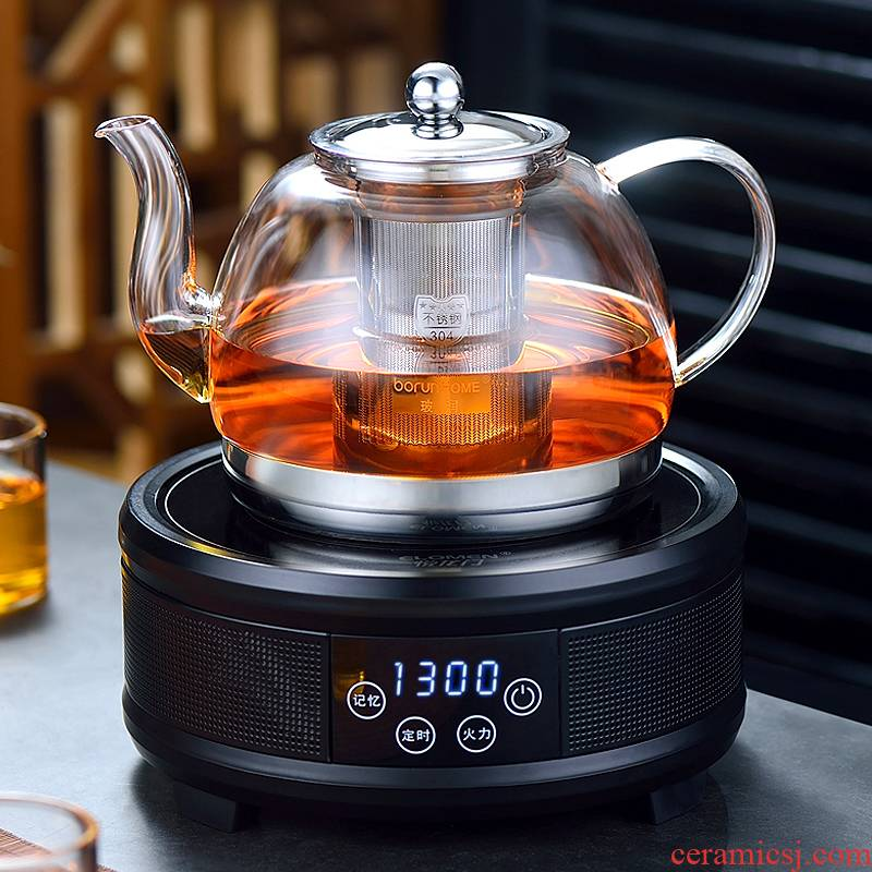To heat the kettle black tea is special the glass tea pot To boil tea, the electric TaoLu boiled tea pot set transparent home