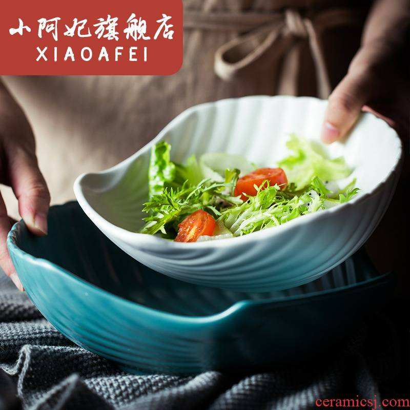 9 inches shell Nordic matte enrolled glaze ceramic fruit salad bowl creative household rice bowls ins wind and kitchen utensils