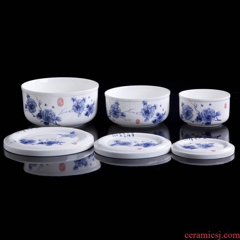 8 hx jingdezhen ceramic preservation bowl three - piece crisper ceramic bowl with cover microwave special kitchen is small