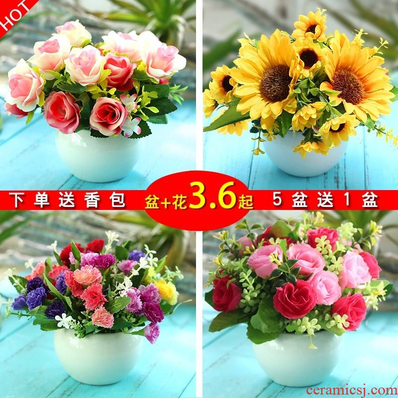 Simulation of false furnishing articles home sitting room tea table decoration plastic flowers and flowers bouquets of dry small potted the plants decorations