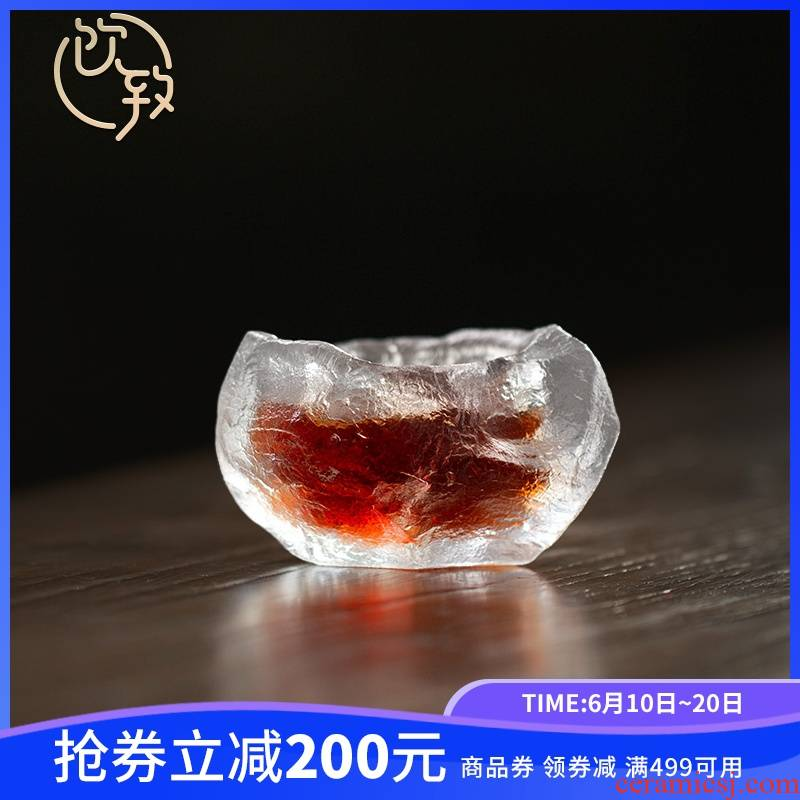 Drinking to a glass cup sample tea cup wine frozen burn tea tea set is irregular, Japanese small cups kunfu tea cup