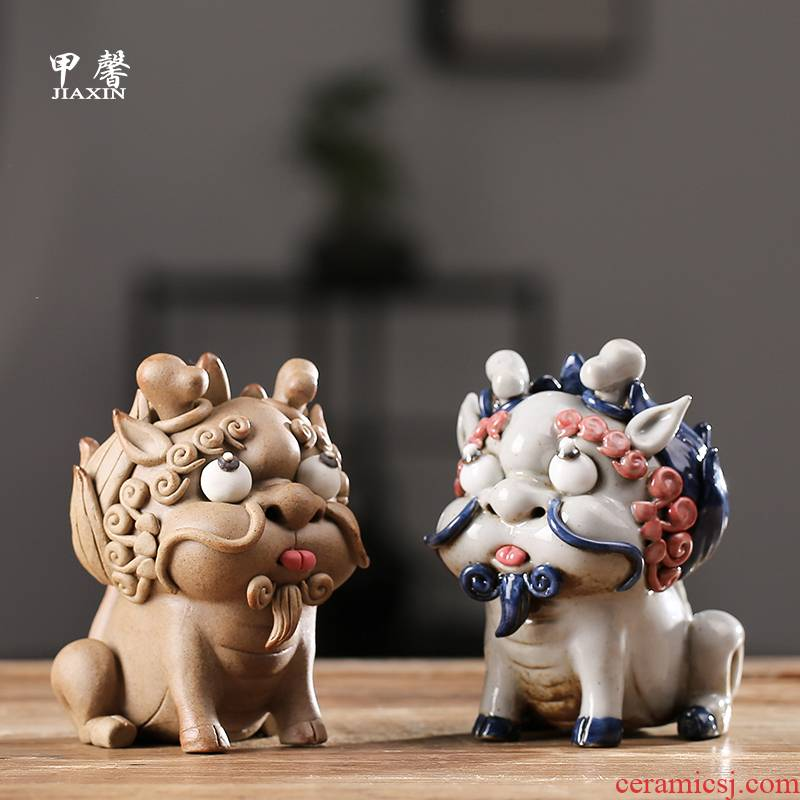 Furnishing articles pet boutique JiaXin ceramic checking tea to keep playing fun lucky the mythical wild animal and joss stick to do head of Furnishing articles