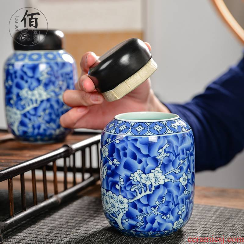 Retro number in blue and white porcelain tea pot of ceramic seal pot black tea, green tea moisture storage tank storage POTS with gift box