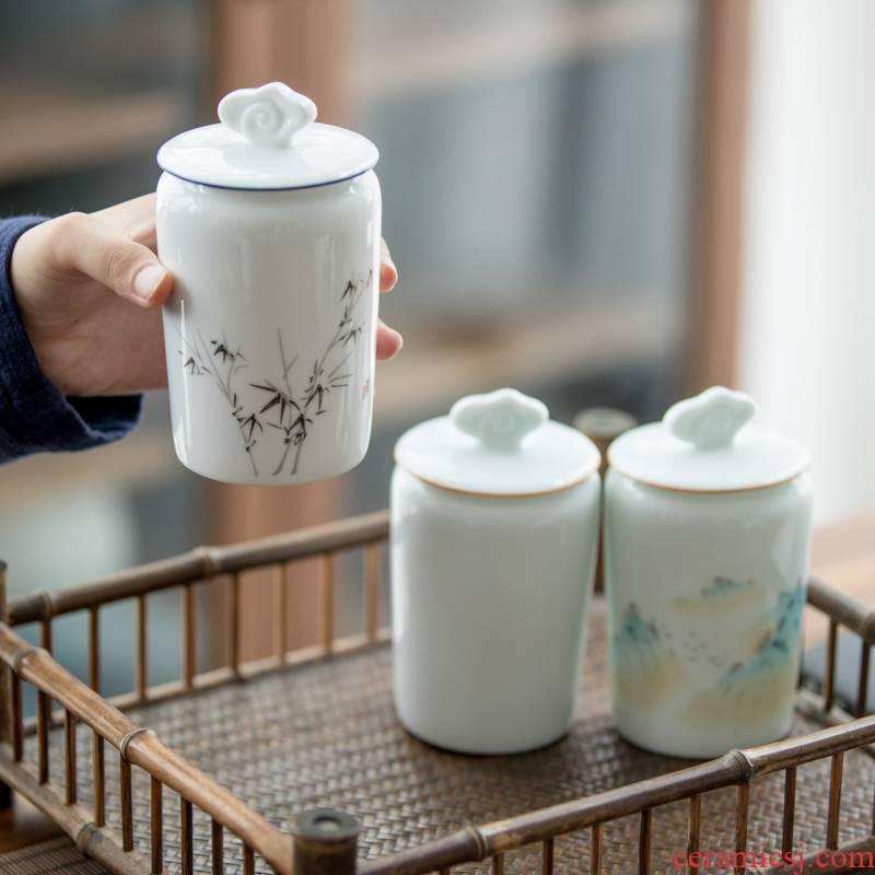 Vegetation school Japanese caddy fixings ceramic seal storage tank and receives tea caddy fixings tea pot home tea warehouse inventory