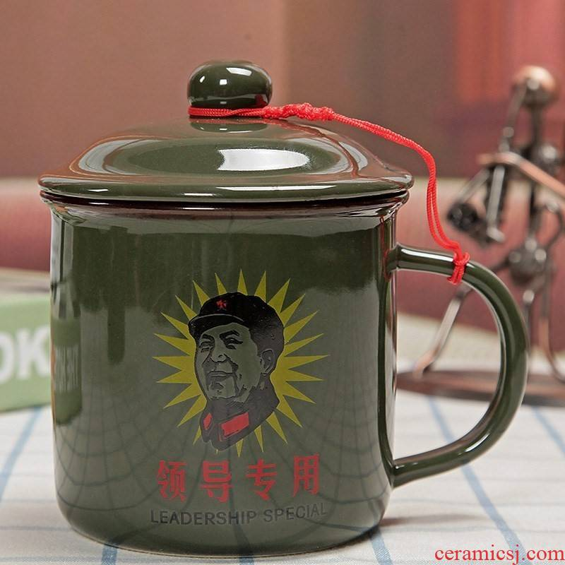 To serve the people army green cup nostalgic classic old keller cup it glass ceramic keller old red army man