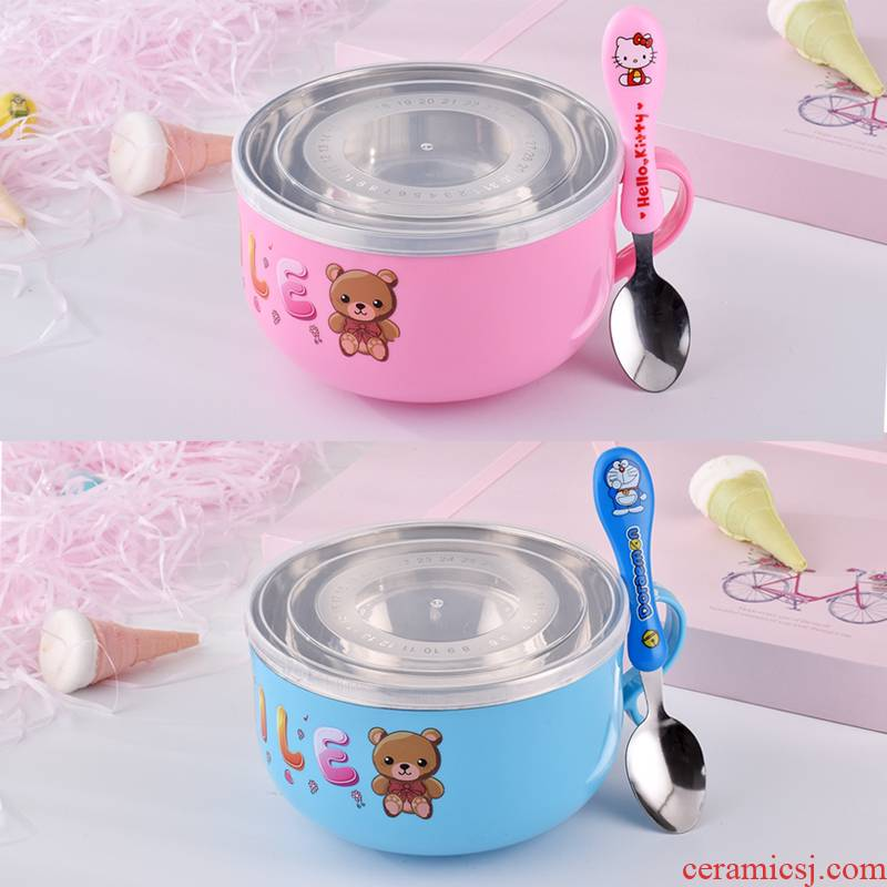 The Children against falling baby bowl of stainless steel tableware hot household express cartoon students in kindergarten Children eat bread and butter