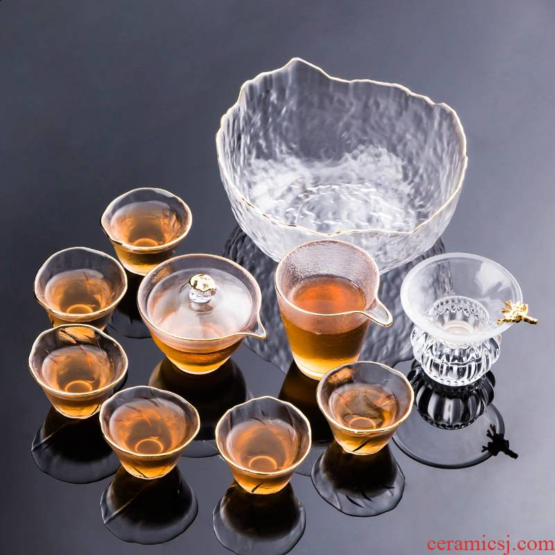Japanese high - temperature glass kung fu tea sets, small household hammer of a complete set of tea pot lid bowl with tea cups