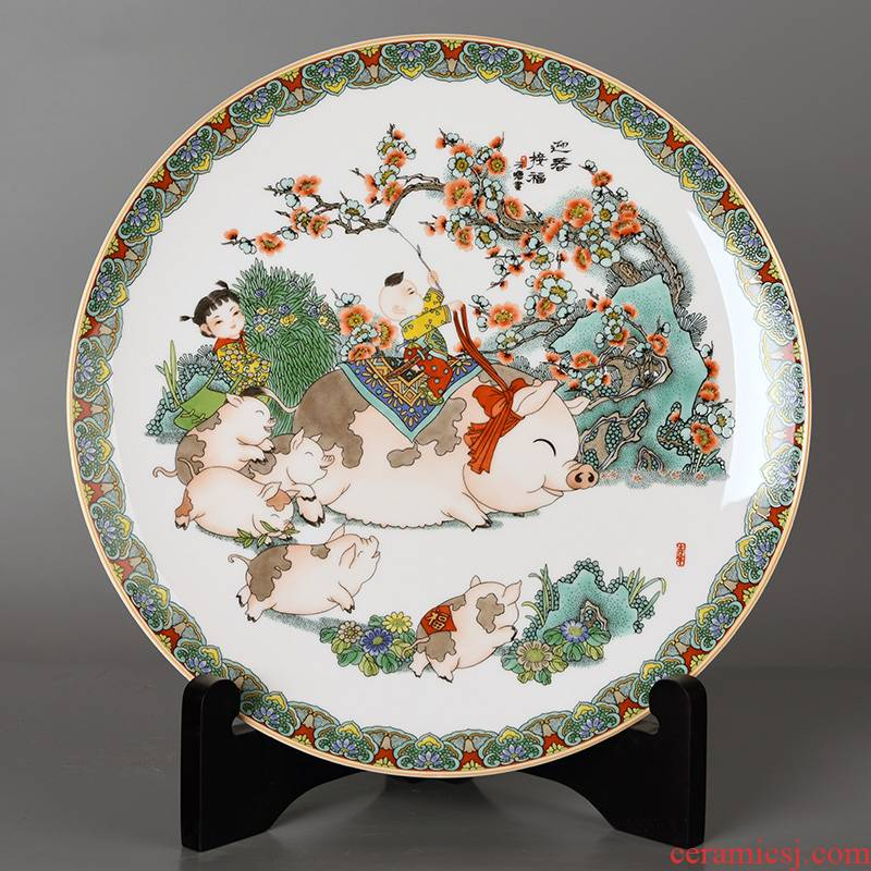 2019 zodiac year gift to send your elders characteristic creative crafts of jingdezhen ceramic plate of chun connect blessing