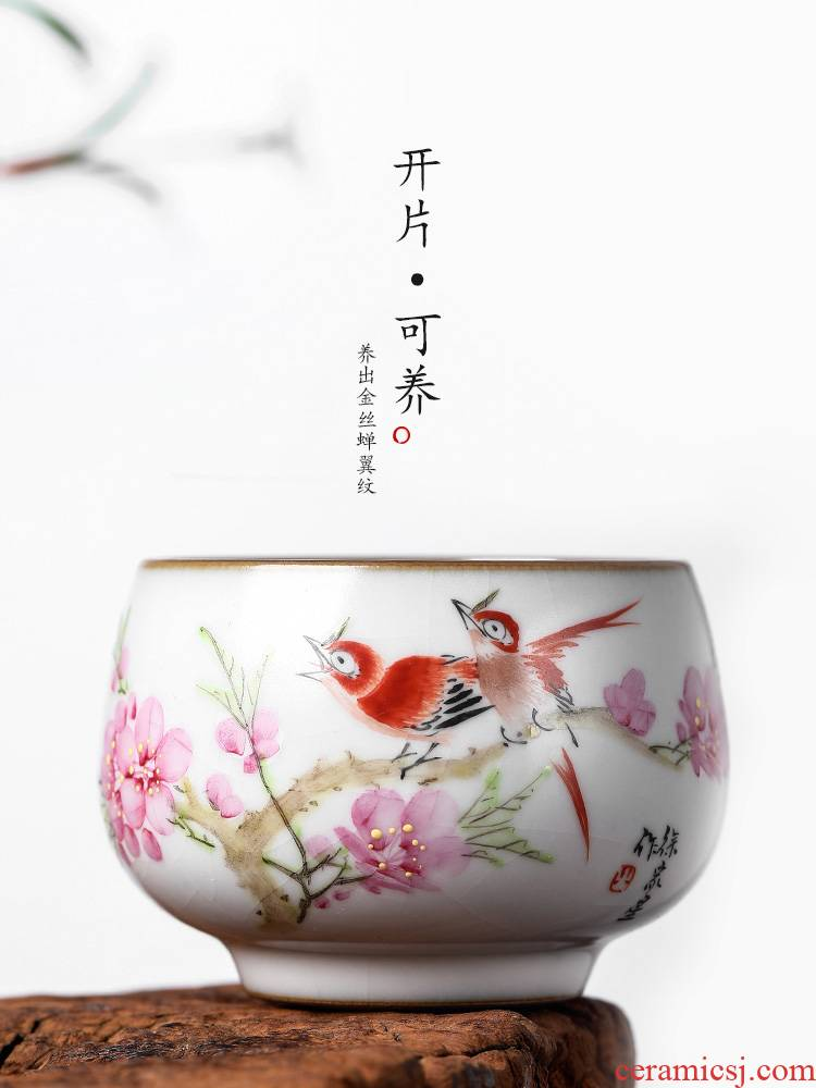 Jingdezhen Xu Jiaxing pastel hand - made peach blossom put water point ru up market metrix who kunfu tea cup of pure manual ceramic sample tea cup