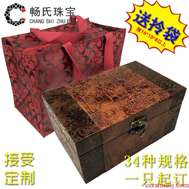 Large wooden retro JinHe collectables - autograph antique porcelain play penjing collection packaging gift boxes custom make to order