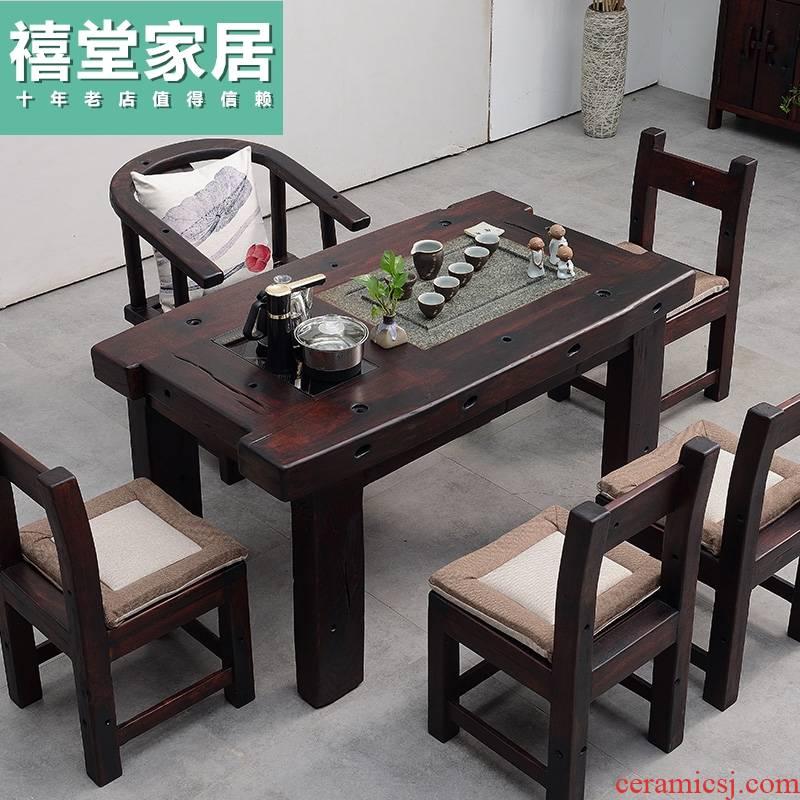 Tea table and chair solid wood home office balcony kung fu Tea Tea table set one small Tea table