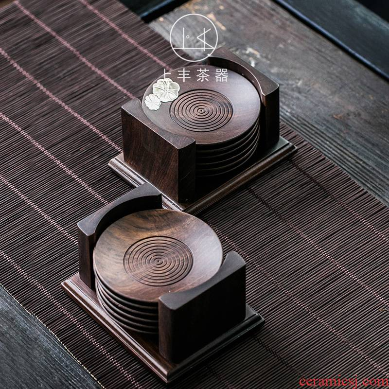 Feng ebony teacup pad on a combination of solid wood, the set of coasters saucer insulation pad tea tea accessories
