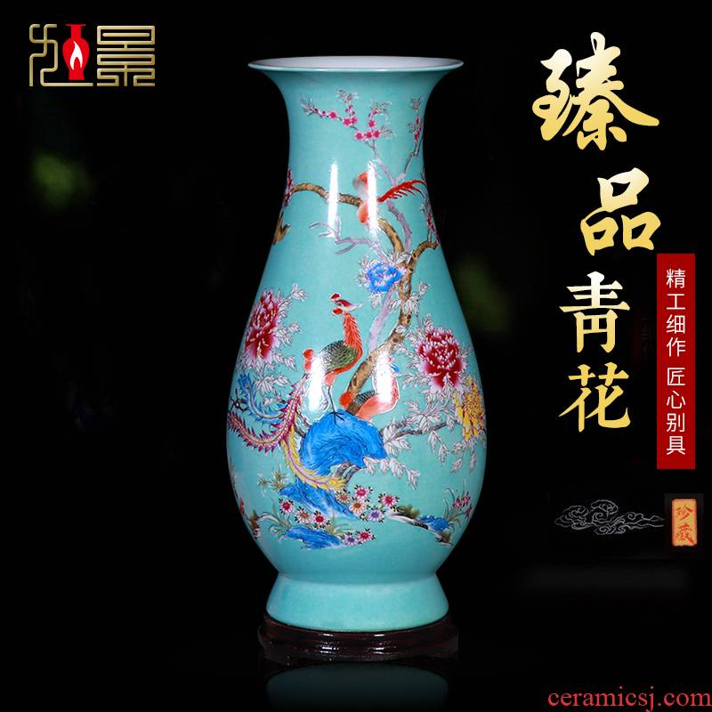 Jingdezhen imitation the qing famille rose porcelain vase water raise lucky bamboo flower arrangement, the sitting room decorate new Chinese style household furnishing articles