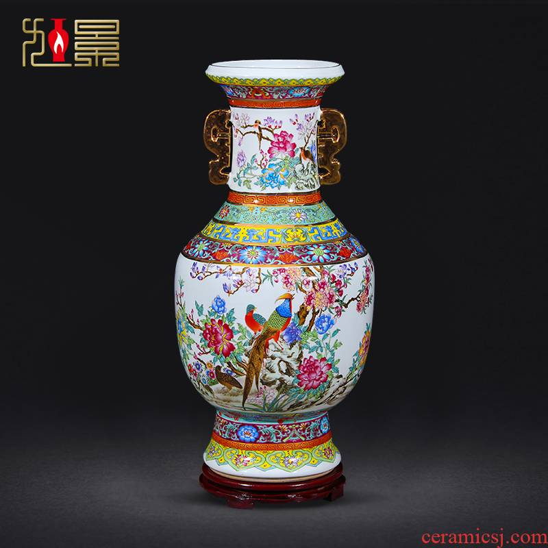 Jingdezhen porcelain qianlong pastel ears king porcelain painting of flowers and landing big vases, flower arrangement sitting room adornment is placed