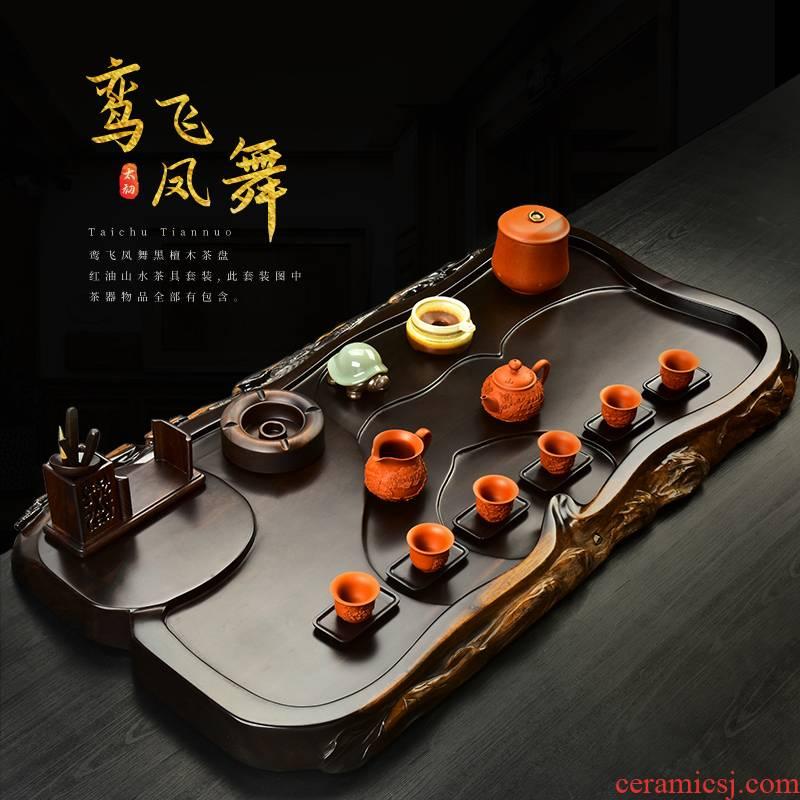 The beginning day, tea sets tea tray was solid wood ebony redwood carved kung fu purple sand tea tea tea table