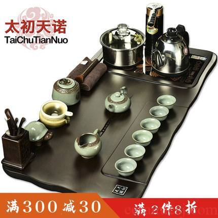 The beginning day, solid wood tea tray was Taiwan tea saucer purple purple sand tea set of a complete set of four unity furnace kung fu home