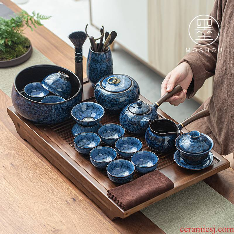 By variable kung fu tea sets temmoku glaze teacup tureen wiredrawing home office make tea with a gift