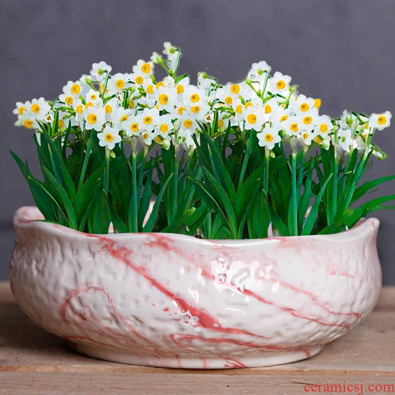Copper grass withered lotus flower pot water lily bowl without special offer a clearance hole ceramics water raise hydroponic fleshy large - sized refers to basin