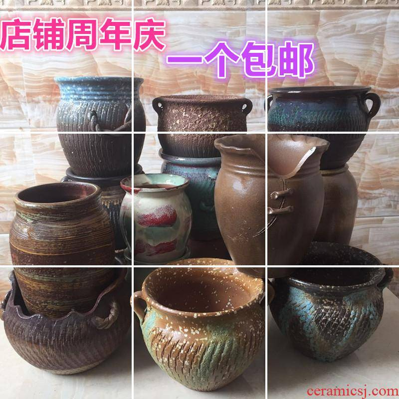 Specials coarse pottery flowerpot ceramic flowerpot more meat tall, old running the soil POTS creative indoor green plant pot bag in the mail