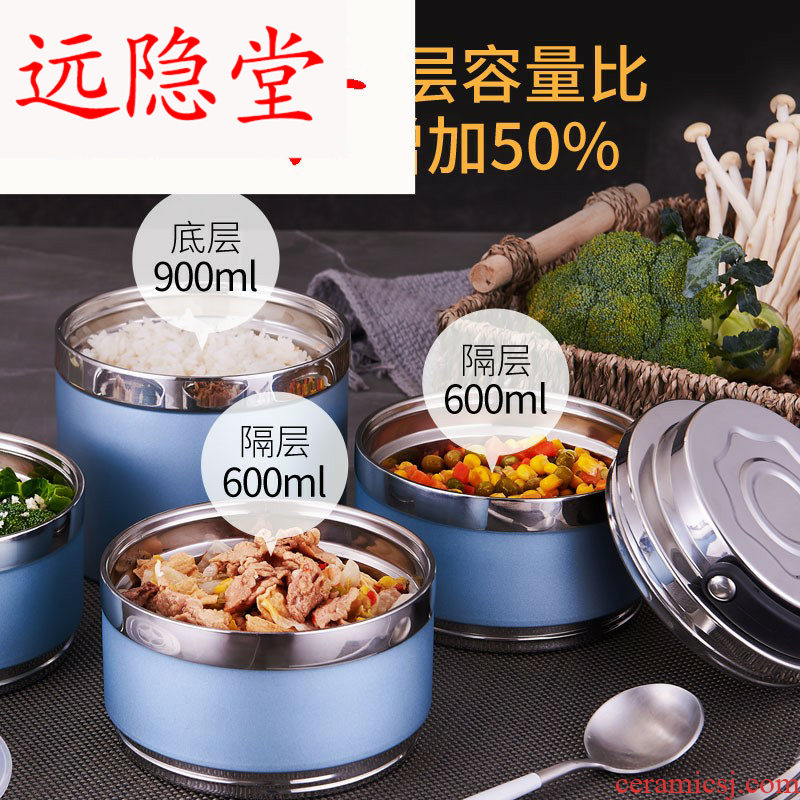 304 steel double insulated lunchbox barrel students bento box of multiple layer 3 Japanese men and with cover ceramic tableware