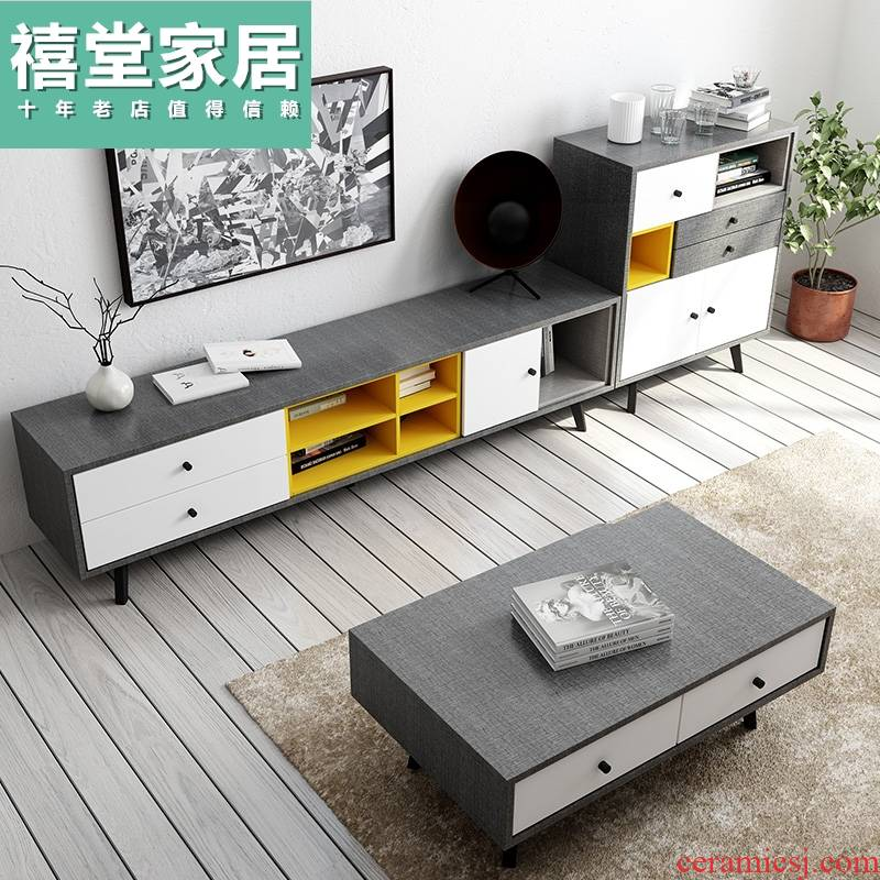 Nordic tea table, TV ark combination living room furniture suit I and contracted small family model bedroom TV ark cabinet