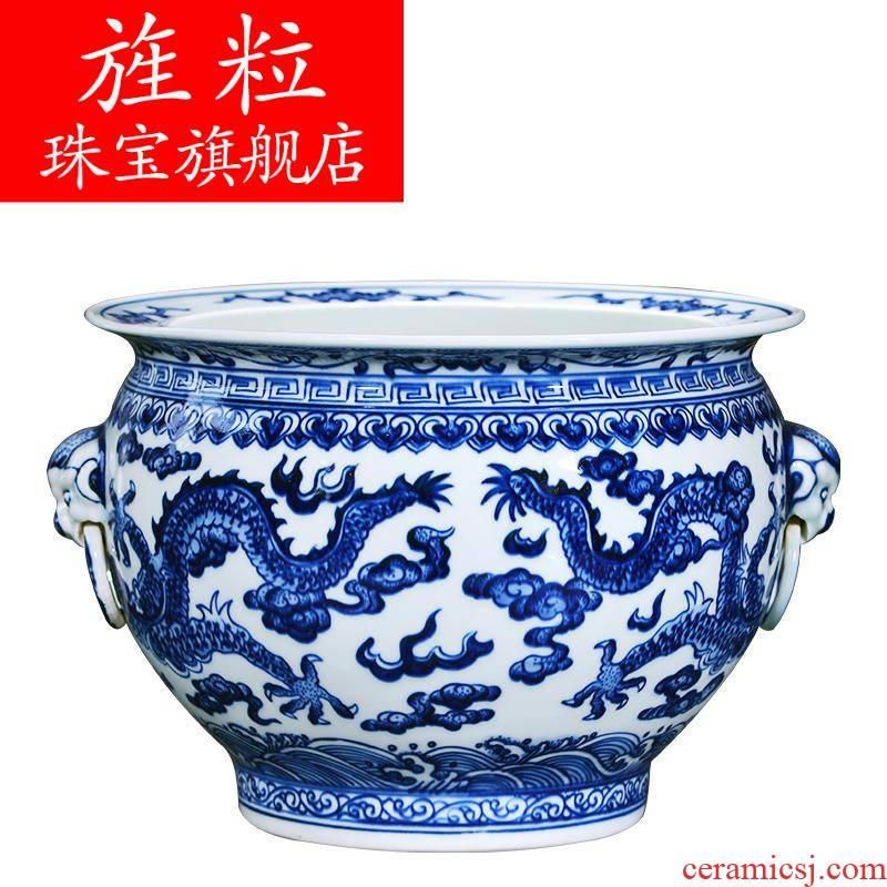Q8 hand - made cornucopia of blue and white porcelain of jingdezhen ceramics feng shui plutus furnishing articles of new Chinese style household adornment sitting room