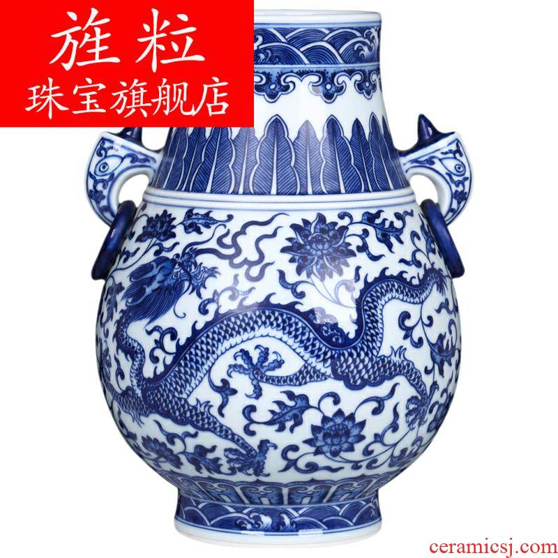 Ez antique hand - made double listen tube of the sitting room of blue and white porcelain of jingdezhen ceramics household flower adornment handicraft
