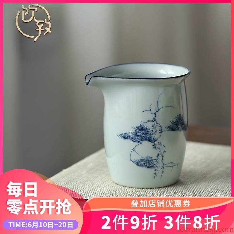 Ultimately responds to clay jingdezhen blue and white ceramics fair keller and antique hand - made cup points tea, kungfu tea set of the big Japanese