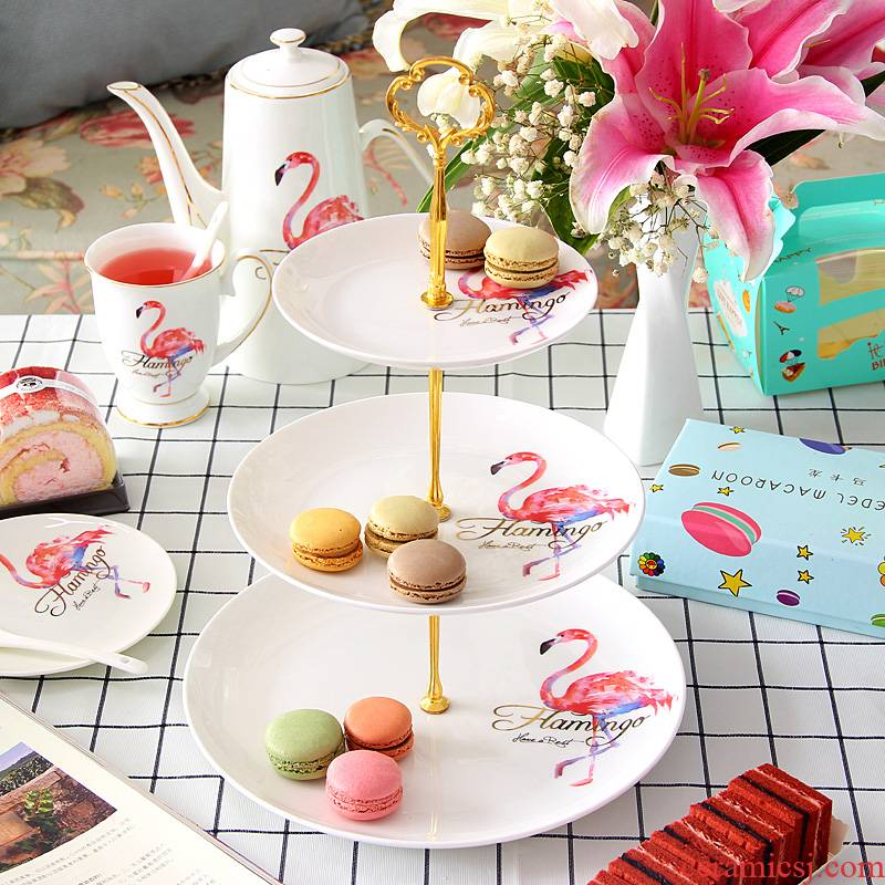 Flamingos fruit bowl tea three the layers of snack plate tea tray was dessert plate multi - functional ipads China continental gift box