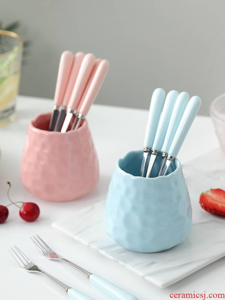 Korean stainless steel long handle fruit fork suit sign the snack small lovely fruit fork sweet moon cake fork ceramics