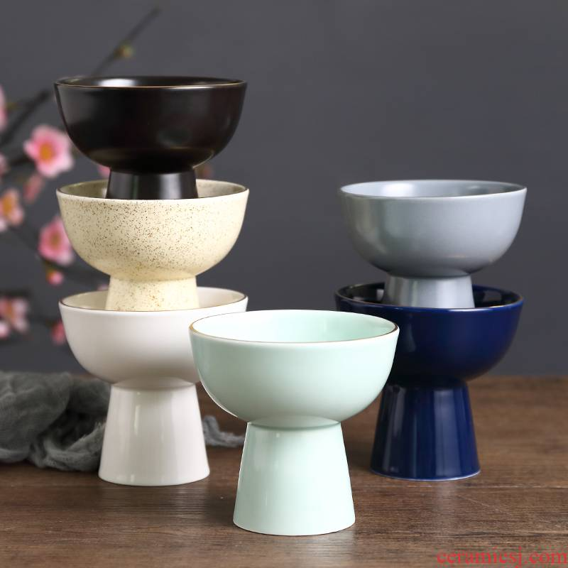 Snacks Japanese characteristic ceramic cup of yogurt dessert tall foot cup small bowl dessert pudding bowl of cat food bowl of creative dishes