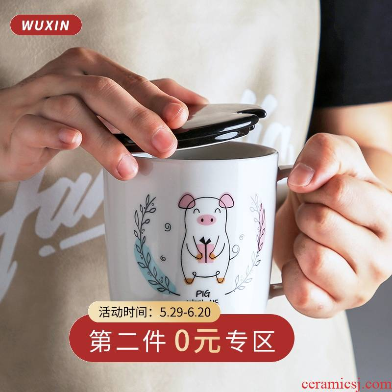 Cartoon character mark cup ceramic trends of contracted as a fe creative super cup ladle cover cup express it in girls