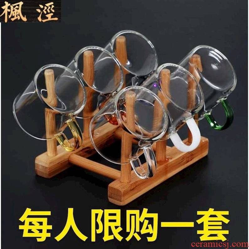 Small glass cup with put six masters cup kung fu tea sets, heat - resistant household mini sample tea cup cup