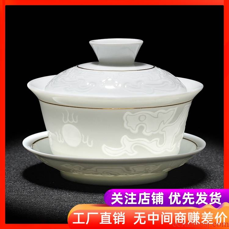 Jingdezhen pure manual only three tureen large cups kung fu tea set ceramic white porcelain tea bowl of blue and white porcelain