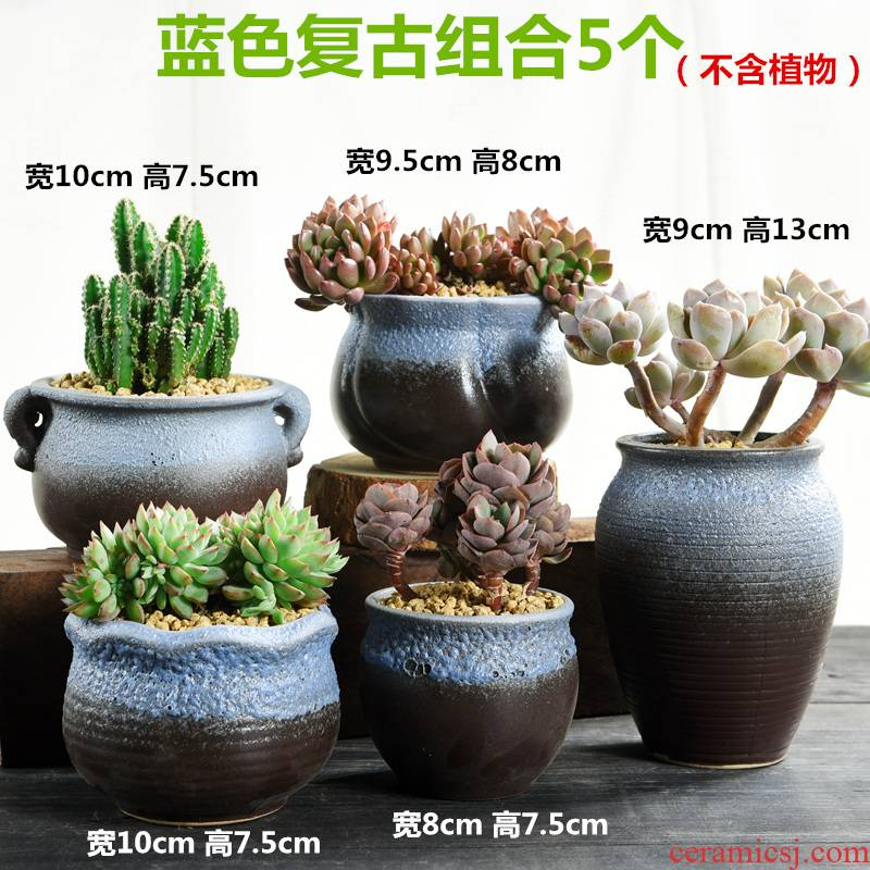 The Fleshy large special offer a clearance of creative move coarse pottery flowerpot ceramics high breathable meat meat plant flower pot in the old running