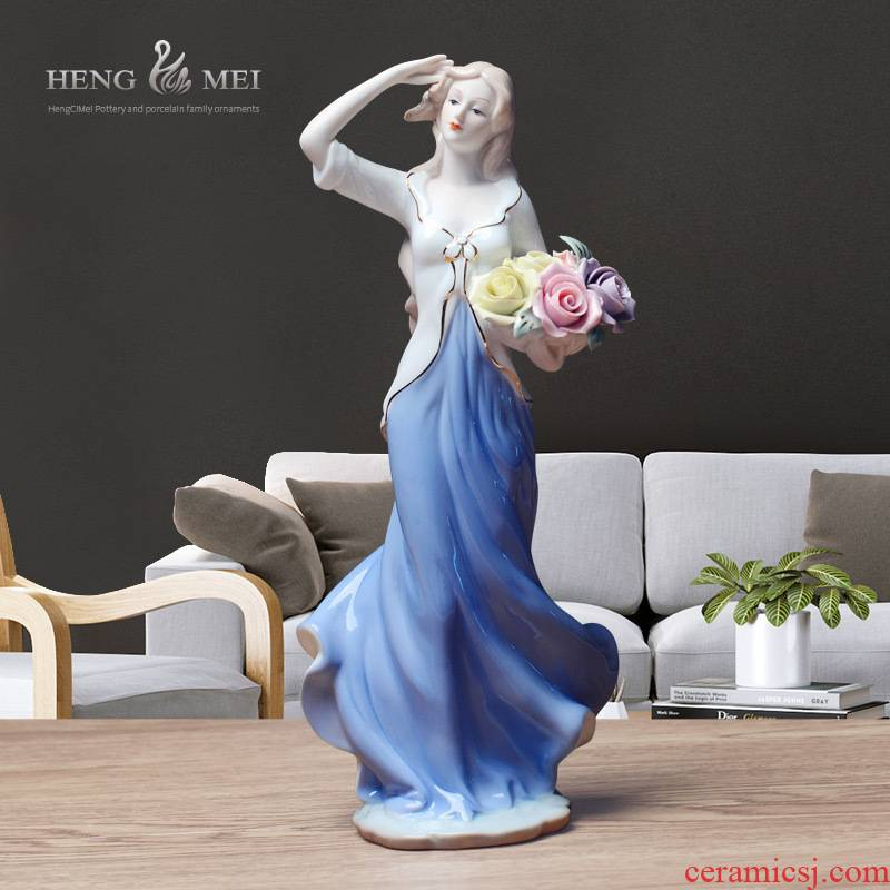 Western European women 070 rural household adornment ornament characters of jingdezhen ceramic arts and crafts its furnishing articles